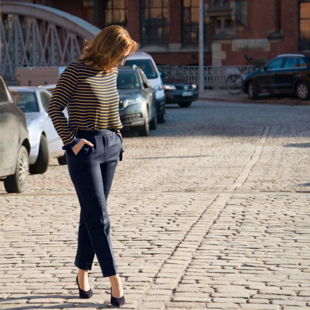 blaue Wollhose, Business Outfit, H&M, Konfirmation, Lob, Mango, Massimo Dutti, Sei nett zu dir, Streifenshirt, Think positive