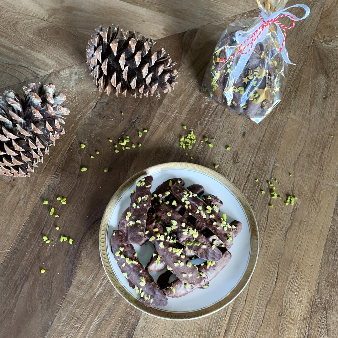 Ingwerstangen mit dunkler Schokolade