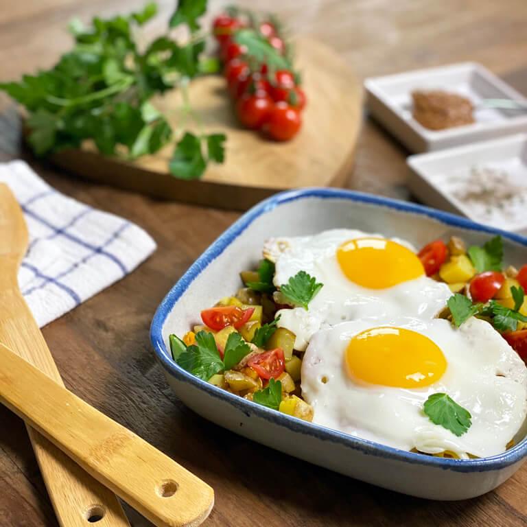 Bauernfrühstück – Bratkartoffeln mit Spiegelei